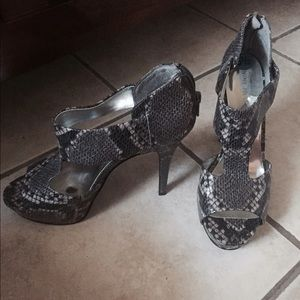 Snake skin print heels
