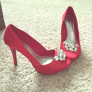 6dd667644fd Fioni Night Shoes - Red and silver jeweled Fioni Night heels