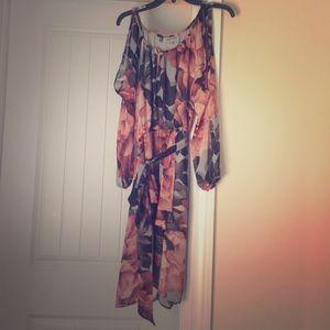 NWOT- Jennifer Lopez- rose & gray floral dress