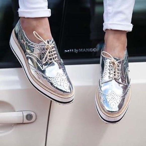 Zara Shoes Silver Lace Up Oxfords Platform Brogues 65