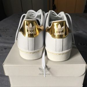 adidas superstar white and gold womens