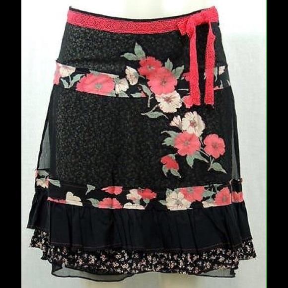Free People Fun Girly Mixed Fabric Print Skirt