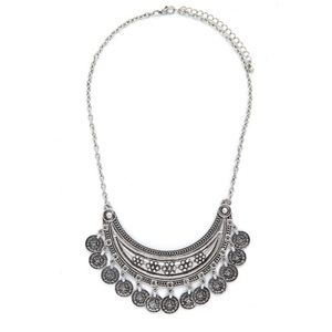 Urban Outfitters silver coin statement necklace