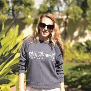 Let's Get Away Navy Semi-Cropped Sweatshirt