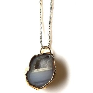 Vintage Jewelry - Vintage Agate Pendant Necklace Upcycled Jewelry