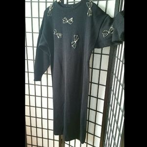 Vintage 80s wool dress with sequin