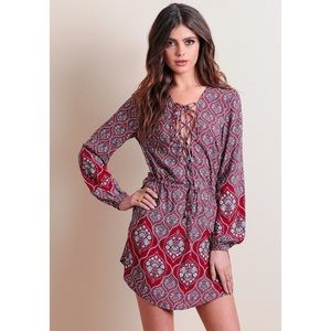 Dresses & Skirts - Boho Printed Lace Up Long Sleeve Dress - Red
