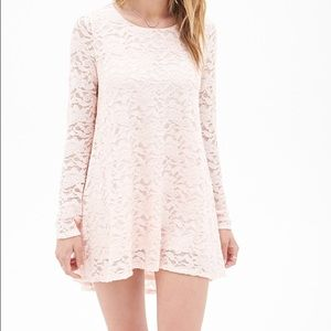 Forever 21 Pink Contemporary Lace Babydoll Dress S