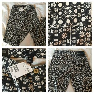 NWT Black and White Patterned H&M Jeans Sz 6