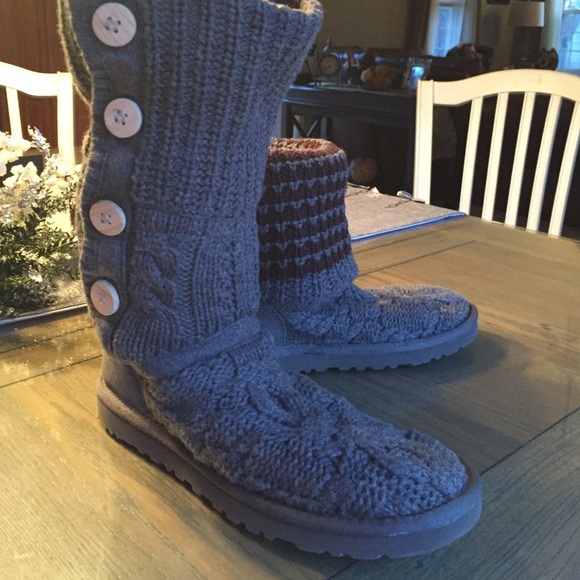 Ugg Shoes Authentic Gray Knit Boots With Wooden Buttons Poshmark