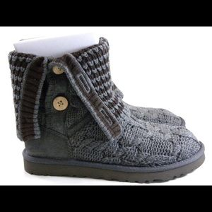 gray knit uggs with buttons