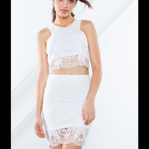 White crop top with crochet detailing