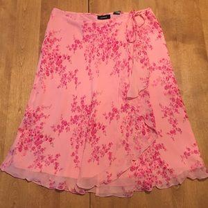 Express pink floral wrap skirt