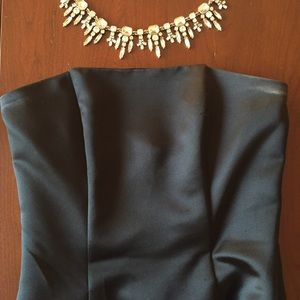 Jessica McClintock Dresses & Skirts - Strapless black satin dress with ruffle bottom