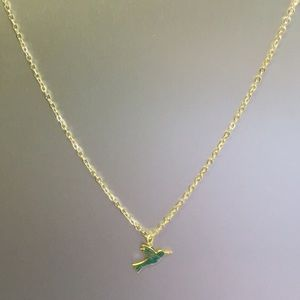 Gold plated hummingbird charm necklace