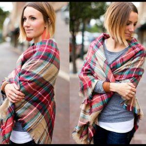 Accessories - Plaid Blanket Scarf - Tan