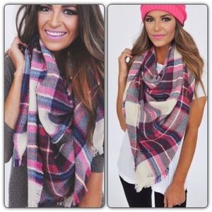 Accessories - Plaid Blanket Scarf - Hot Pink