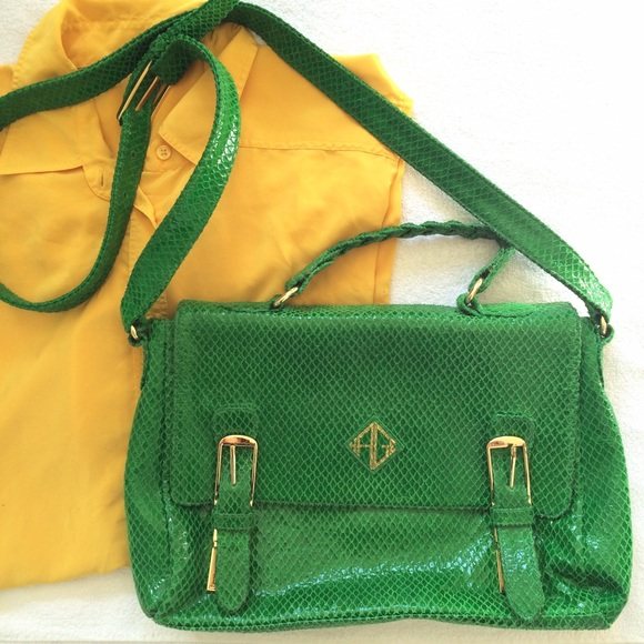 Handbags - Green Snake Print Leather Messenger Bag