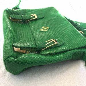 Bags - Green Snake Print Leather Messenger Bag