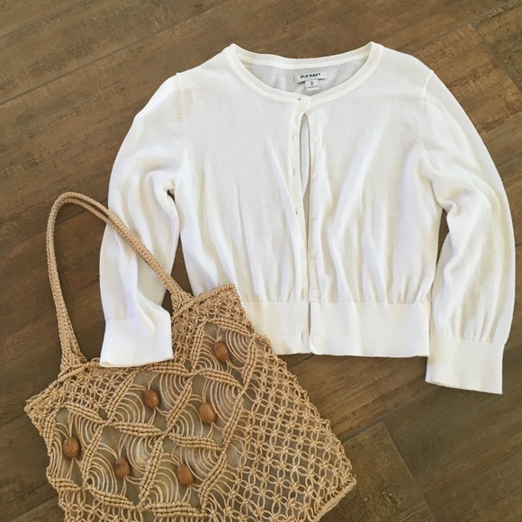 76% off Old Navy Sweaters - Old Navy cropped white cardigan ...