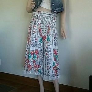ABS floral midi skirt