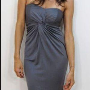 Laila Azhar dress silk strapless steel grey dress