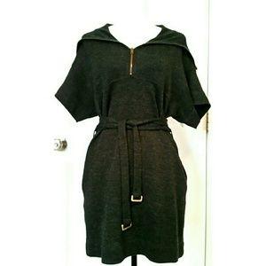 Stella McCartney Dresses & Skirts - STELLA MCCARTNEY gray belted sweater dress