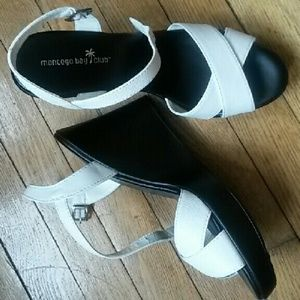 NWT black and white wedges. Strappy sandals