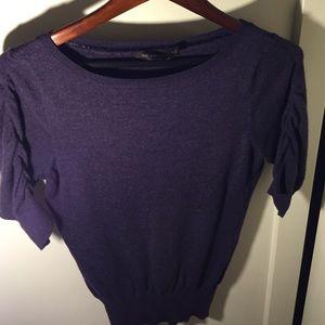 Purple short ruffled sleeved blouse