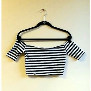 Tops - Black and White Striped Off-the-Shoulder Crop Top