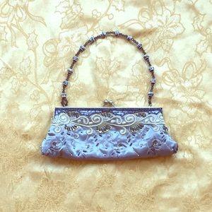 Handbags - Baby Blue & Silver Handbag