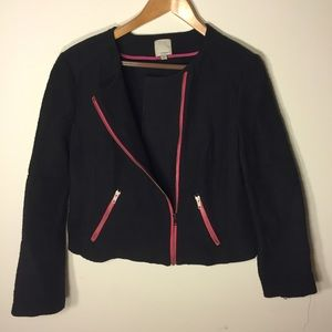 Halogen Jackets & Blazers - HP 🎉 Navy blazer/jacket with pink zipper accents