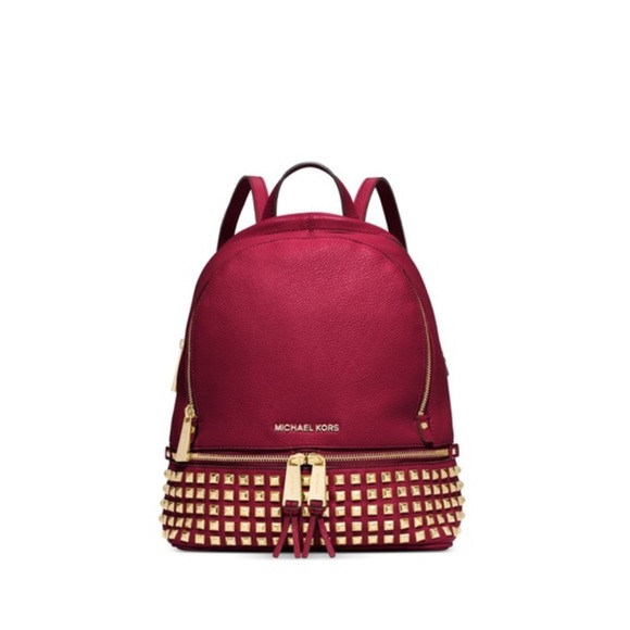 65b254e6ac52 Michael Kors Bags   Studded Rhea Backpack Cherry   Poshmark