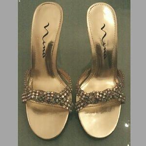 Nina Shoes - Nina crystal rhinestone gold leather open peep 6.5