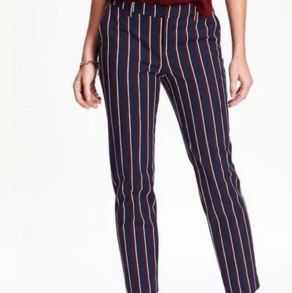 7ebf642296101 Navy Stripe Mid-Rise Harper Trouser
