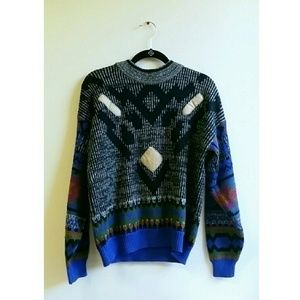 Sweaters - Vintage Multi-Patterned Knit Sweater with Patches