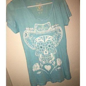 Rhinestone Skull T-Shirt Large
