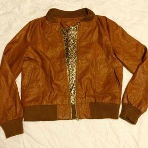 Faux Leather Jacket w/ Satin Leopard Lining-S