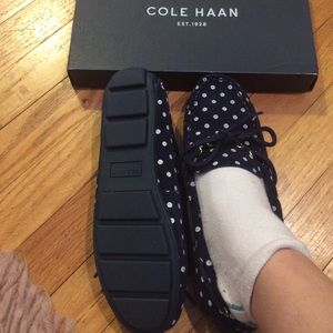Coke Haan black velvet polka dot loafers