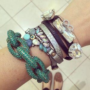 Teal Blue Pave Link Rhinestone Bracelet