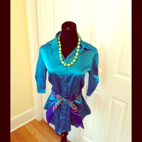 65 Off A Beyer Tops Awesome Teal Button Down From