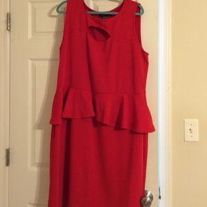 Sexy red plus peplum dress