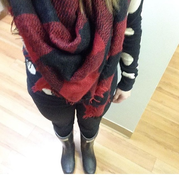 Funky Monkey  Accessories - Red Buffalo Plaid Blanket Scarf