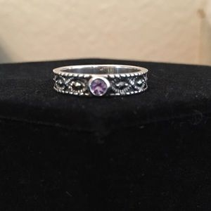 Marcasite Jewelry - Marcasite & Amethyst ring