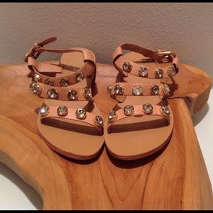 Report Signature Shoes - SOLD Report Signature Cognace Jeweled Sandals