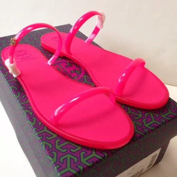 fdeacc7c5f22cc New Tory burch pink 2 band rubber jelly slides 8