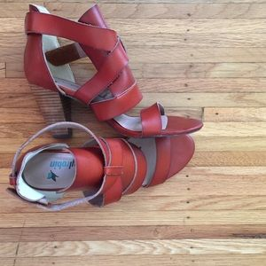 Anthropologie Shoes - Farylrobin leather cognac sandals