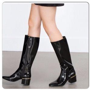 ZARA Black Patent Long Block Boots. AUTHENTIC