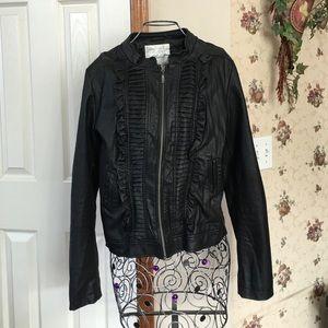 Black Faux Leather Tuxedo Jacket