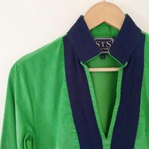 ☘Sail to Sable green/navy corduroy tunic dress☘